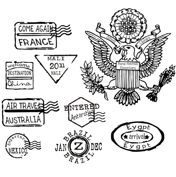 Pretend passport rubber stamps for travel and destination