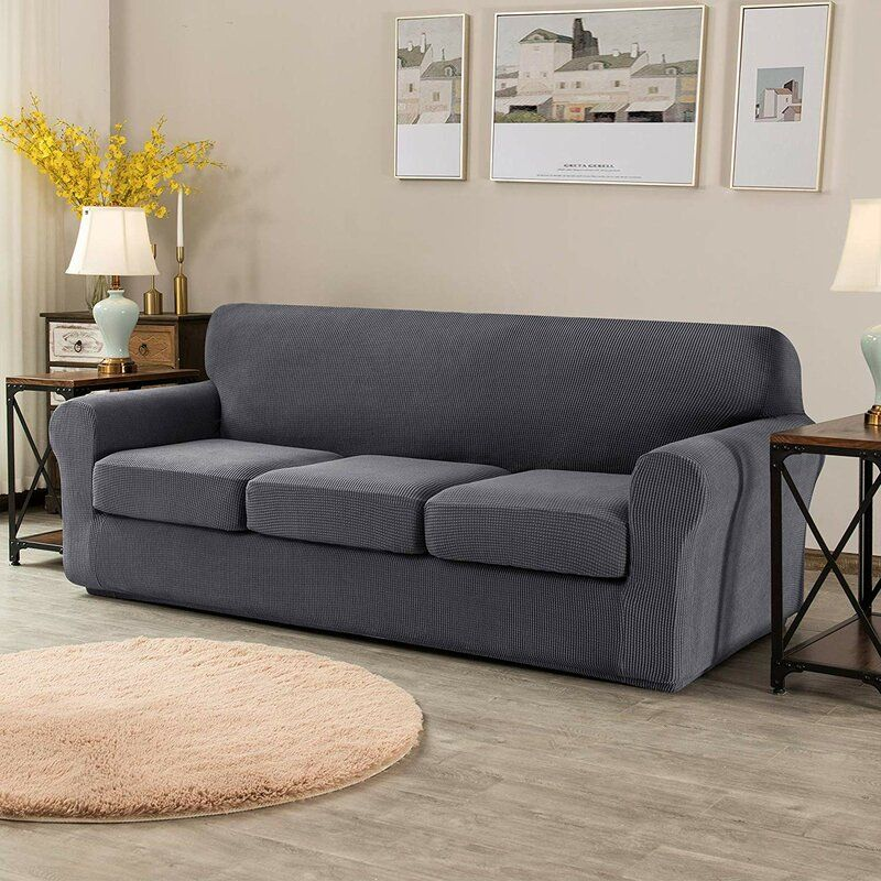 Red Barrel Studio All Round Box Cushion Sofa Slipcover Reviews Wayfair In 2020 Cushions On Sofa Slipcovered Sofa Loveseat Slipcovers