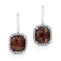 Bespoke Rose Cut Chocolate Diamond Earrings - THIS BESPOKE PAIR OF DIAMOND EARRINGS FEATURE A PAIR 1.80 CARAT ROSE CUT DIAMOND SLICES WITH GORGEOUS WARM CHOCOLATE AND DEEP BROWN HUES SURROUNDED BY HALOS OF  57 HAND SET WHITE DIAMONDS.  SET IN 14K WHITE GOLD.  ONE OF A KIND.