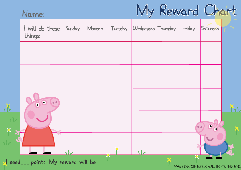 graphic regarding Sticker Chart Printable Pdf identified as Cost-free Peppa Pig Profit Chart potty doing exercises and newborn