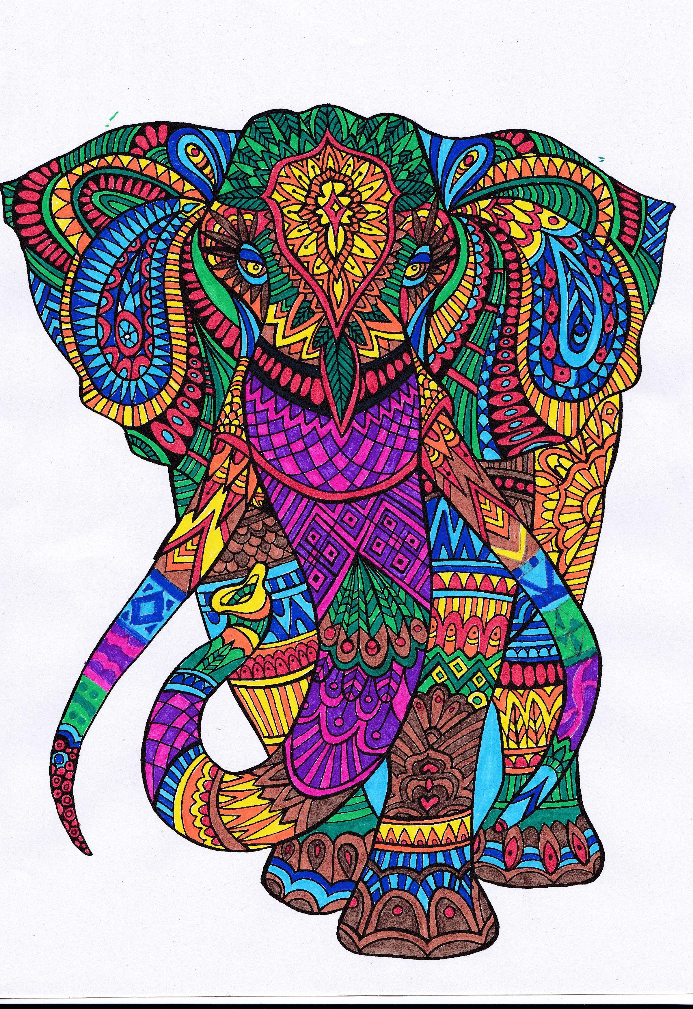 Pin De Masamune En Colorear Elefantes Pintados Mandalas