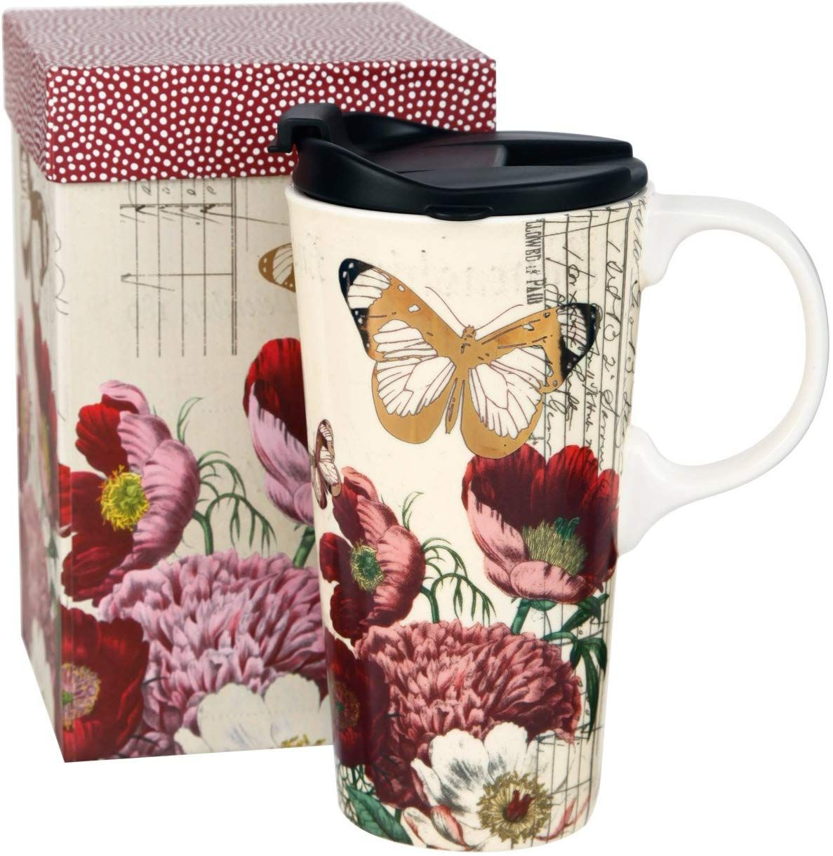 Topadorn 17 OZ Ceramic Mug Travel Cup with Lid and Handle