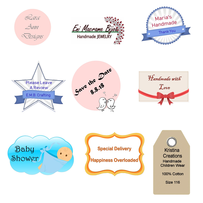 Custom labels personalised stickers design digital