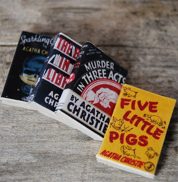 Agatha Christie's miniature book magnets set by Bunnyhell on Etsy