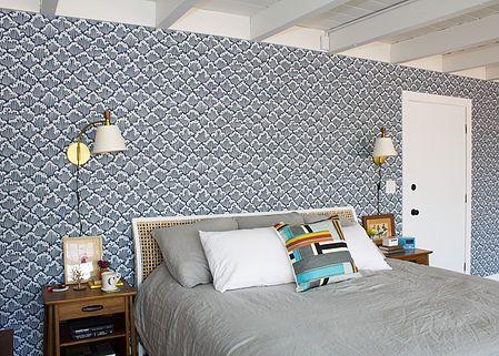 Midcentury modern master bedroom with Japaneseinspired