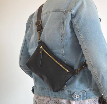 b2ba3fc77473 Black Leather Hip Bag Genuine Leather Belt Bag Simple Waist   Bags ...