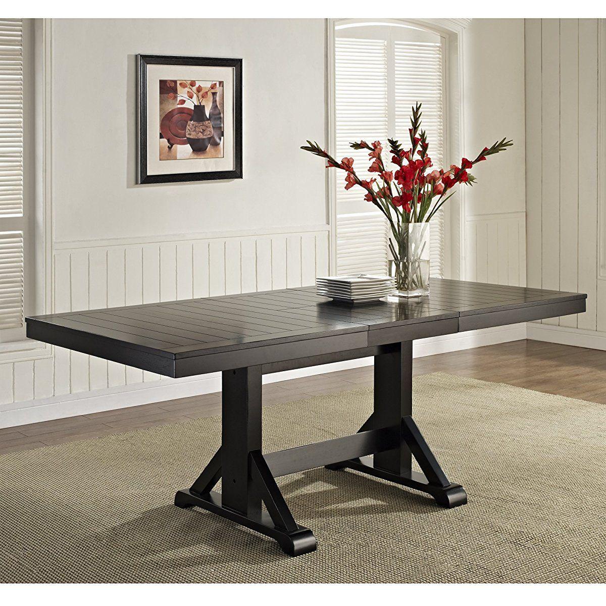 We Furniture 6 Piece Black Solid Wood Dining Set Dining Table Black Dining Table Dining Table In Kitchen