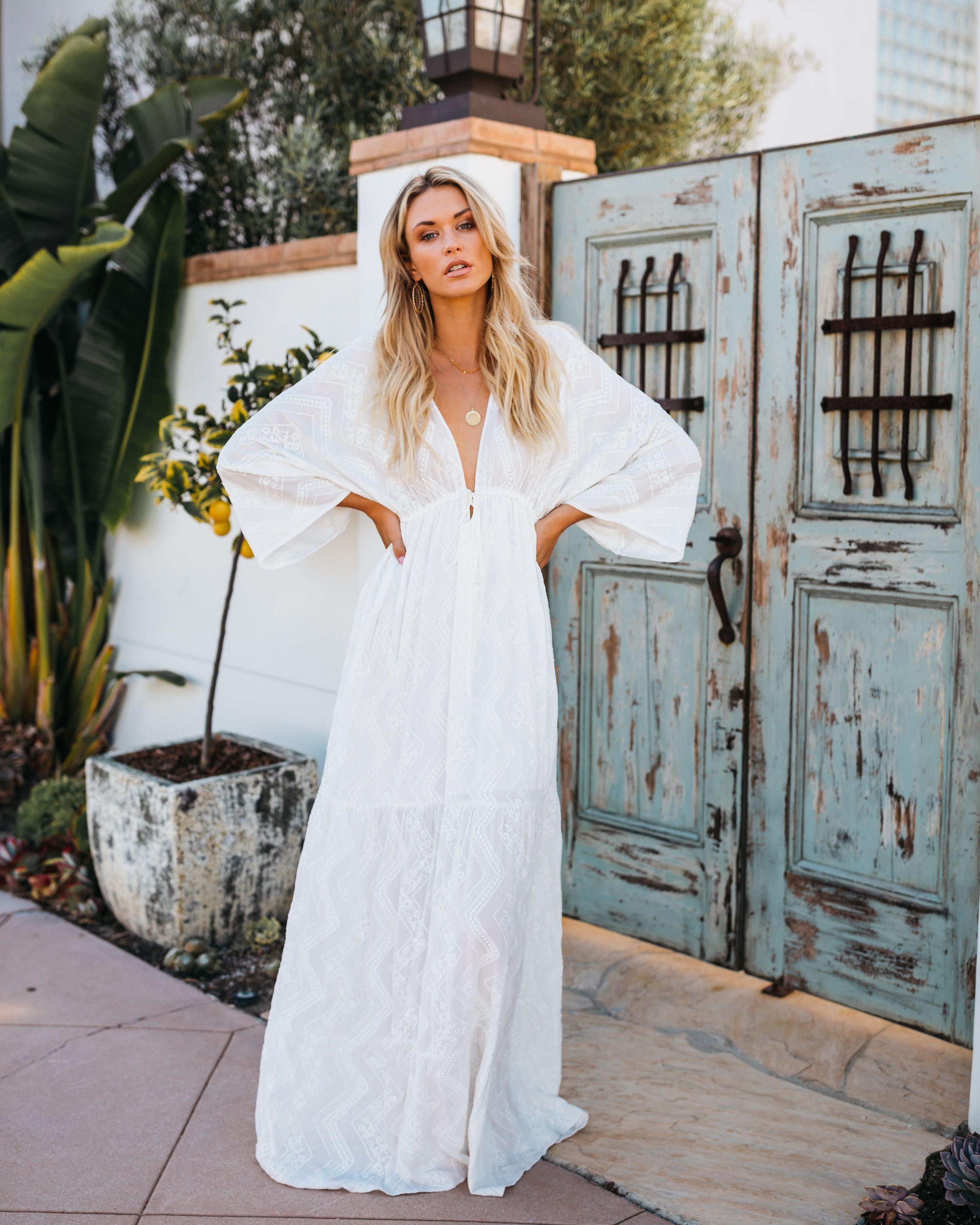 White Sands Beach Embroidered Kimono Maxi Dress Kimono Maxi Dress Dresses White Long Dress Summer [ 3600 x 2880 Pixel ]