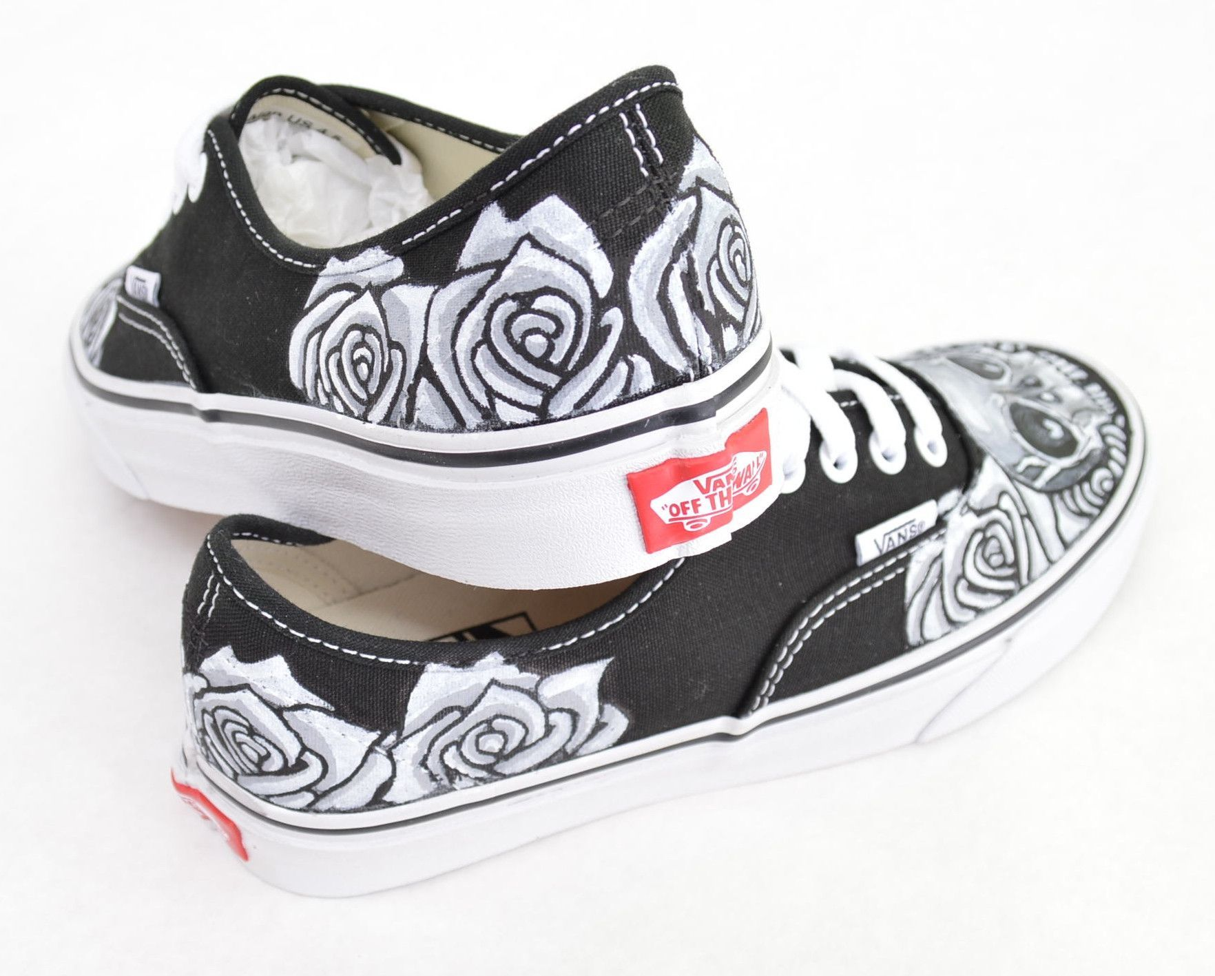 734b193b98123 Black & White Skull & Rose on Black Vans Authentic - Custom Hand ...