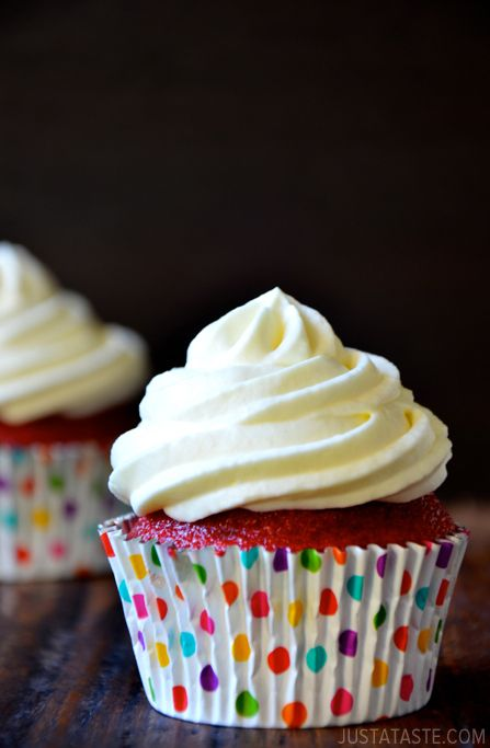 Red Velvet Cupcakes with Piped Cream Cheese Frosting - Red Velvet Cupcakes with Piped Cream Cheese Frosting Recipe | Just a Taste