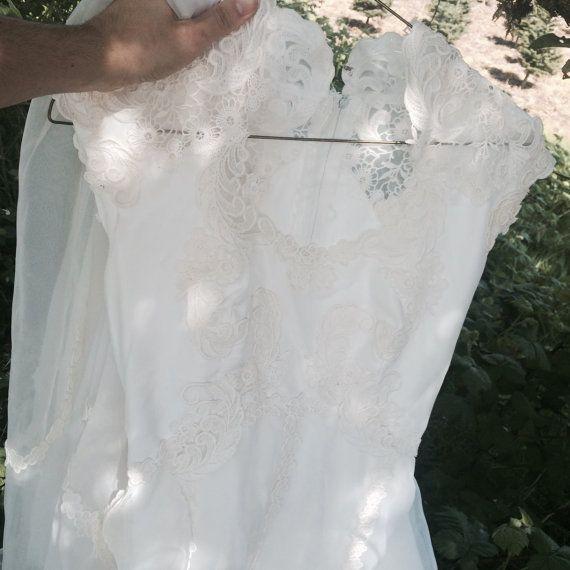 Chevron Wedding Dress/ vintage 60s wedding dress/ long 60s wedding gown