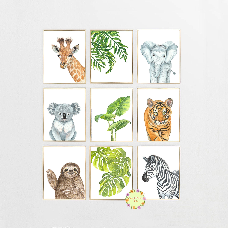 Green Nursery Art Kids Safari Nursery Prints Animal Nursery Prints Animal Nursery Decor Safari Nursery Decor Baby Animal Poster Room Art