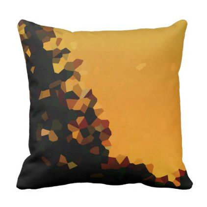 Black and Orange Pixel Shape Abstract Throw Pillow dorm decor