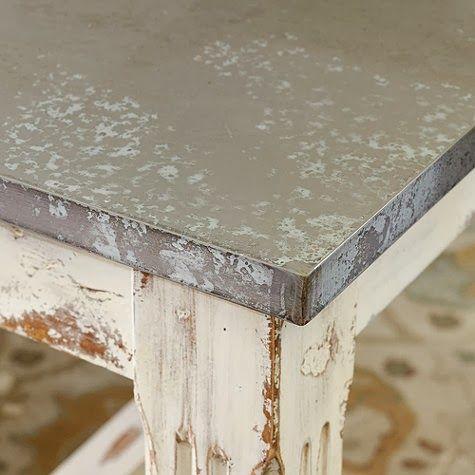 Salt Marsh Cottage: Faux Zinc Tabletop  Super Easy Tutorial