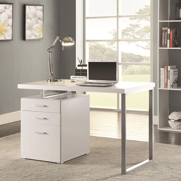 Wilhelm Contemporary Desk Room Modern White And Metal Desk With Storage Eurway Escritorios De Oficina En Casa Oficina En Casa Mobiliario