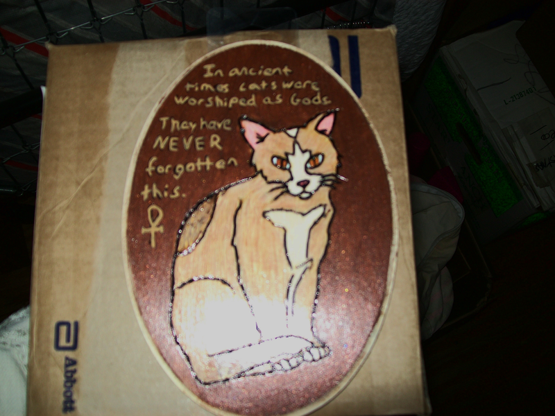 Cat as Gods Egypt wood burned plaque Hand painted My first