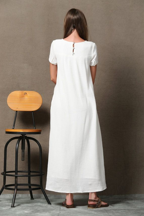 e21a38f065370c Bianco a strati abito in lino cotone breve manica di YL1dress Vestiti Di  Lino Bianco,