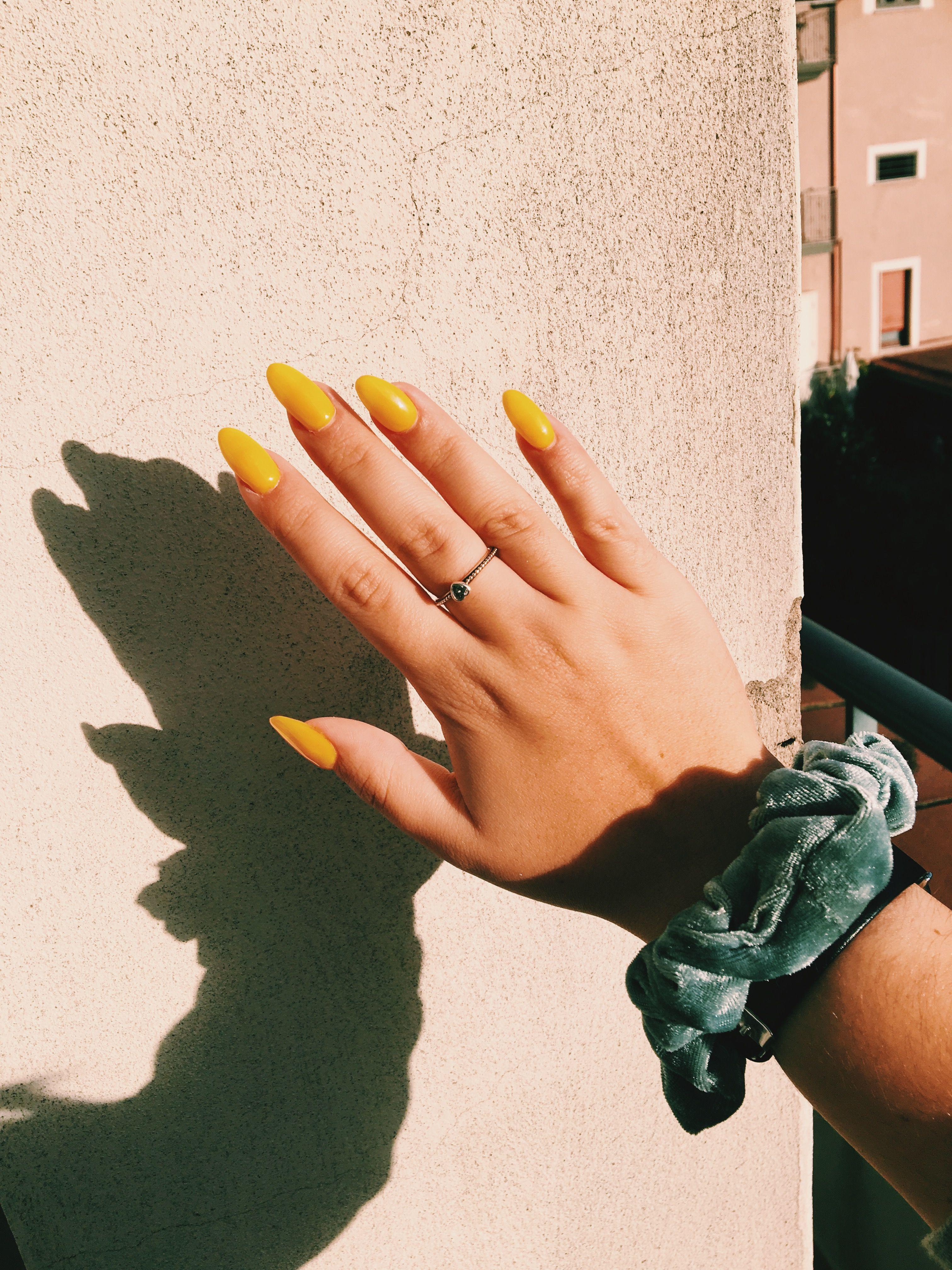 Nails Yellownails Aesthetic Summer Moodboard Longnails Italian Italy Scrunchies Pandora Music Nails Pastel Glitter Nails Cute Nails