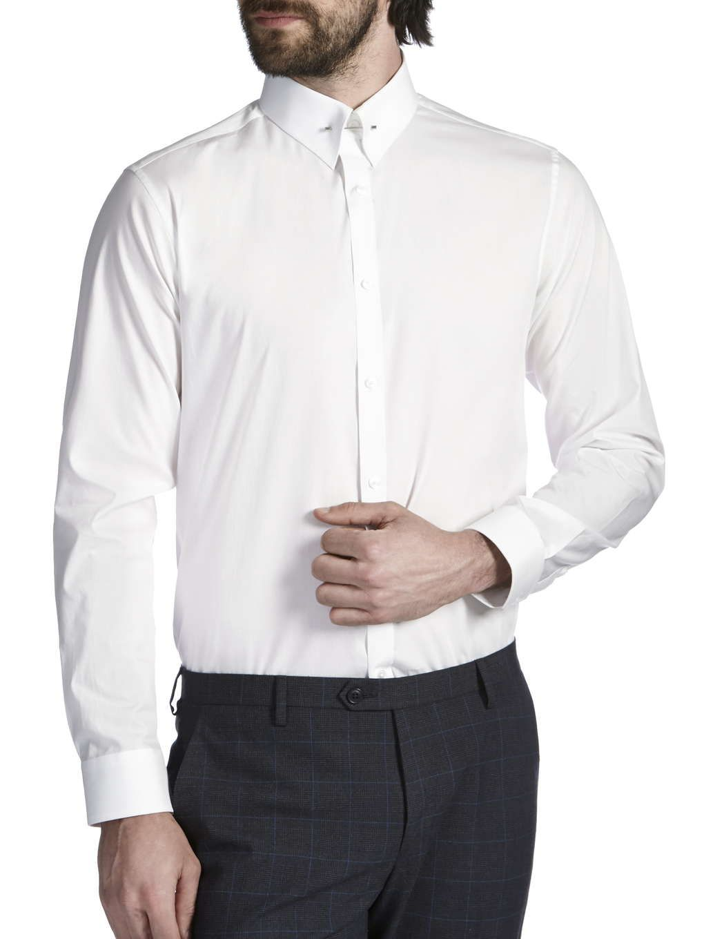 White tailored cotton pin collar shirt mens formal for Mens formal white shirts