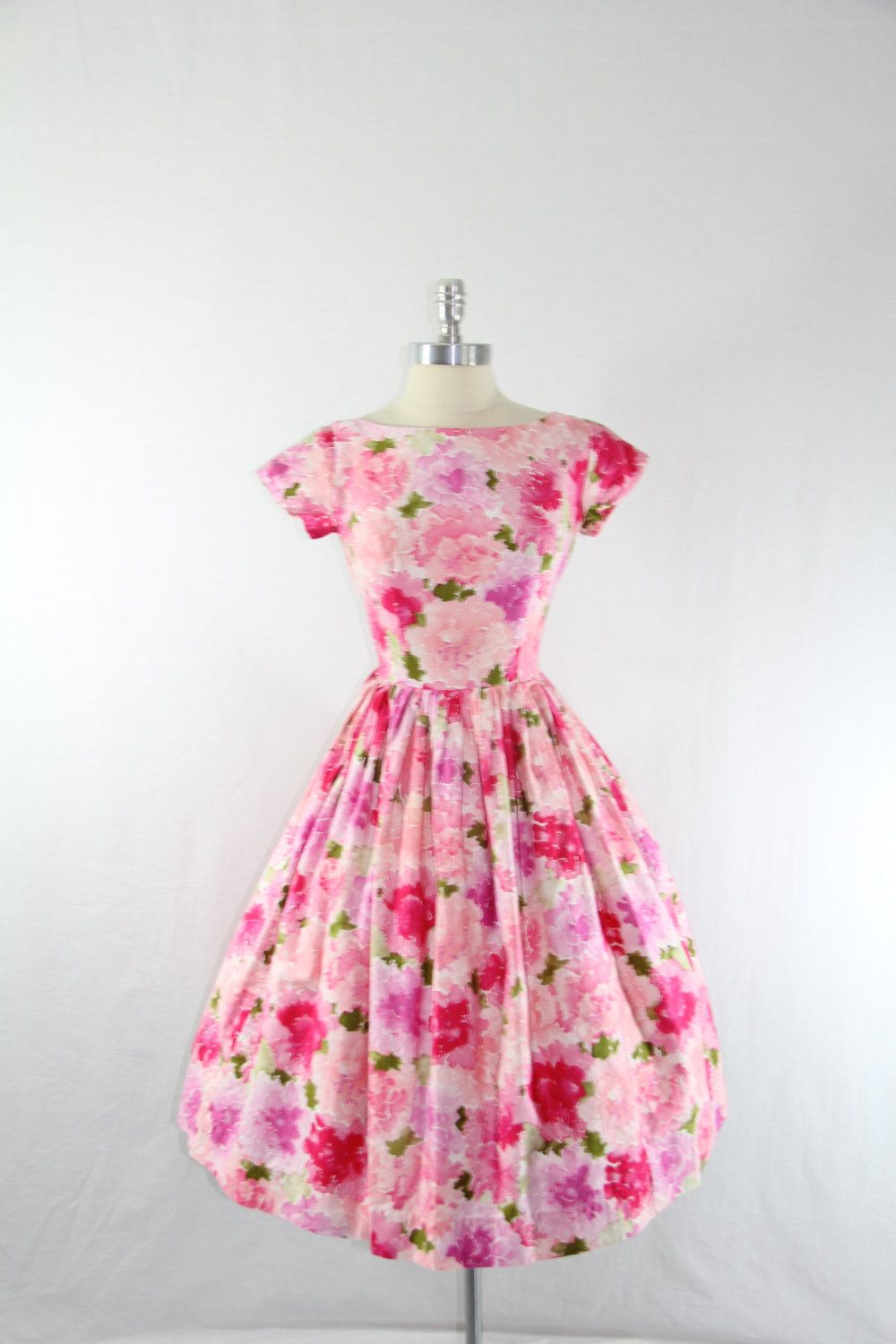 1950s Party Dress - Vintage Rayon Watercolor Pink Floral Print Garden Party Dress