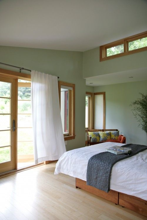 Green with oak trim living dining room pinterest oak trim bedrooms and house Master bedroom with green walls