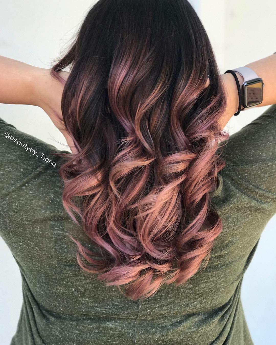 Rose Gold Balayage Hair @beautyby_tiana @brittainyjade in