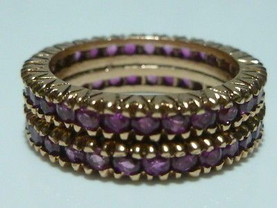 RARE HEAVY SIZE ESTATE RETRO 14K ROSE PINK GOLD RUBY ETERNITY RING GUARD BAND