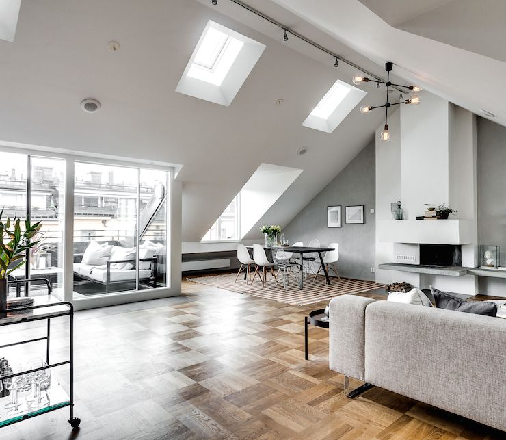 Stunning Attic Apartment In Stockholm (Dust Jacket) Attic - dieses moderne weise penthouse stockholm demonstriert luxus
