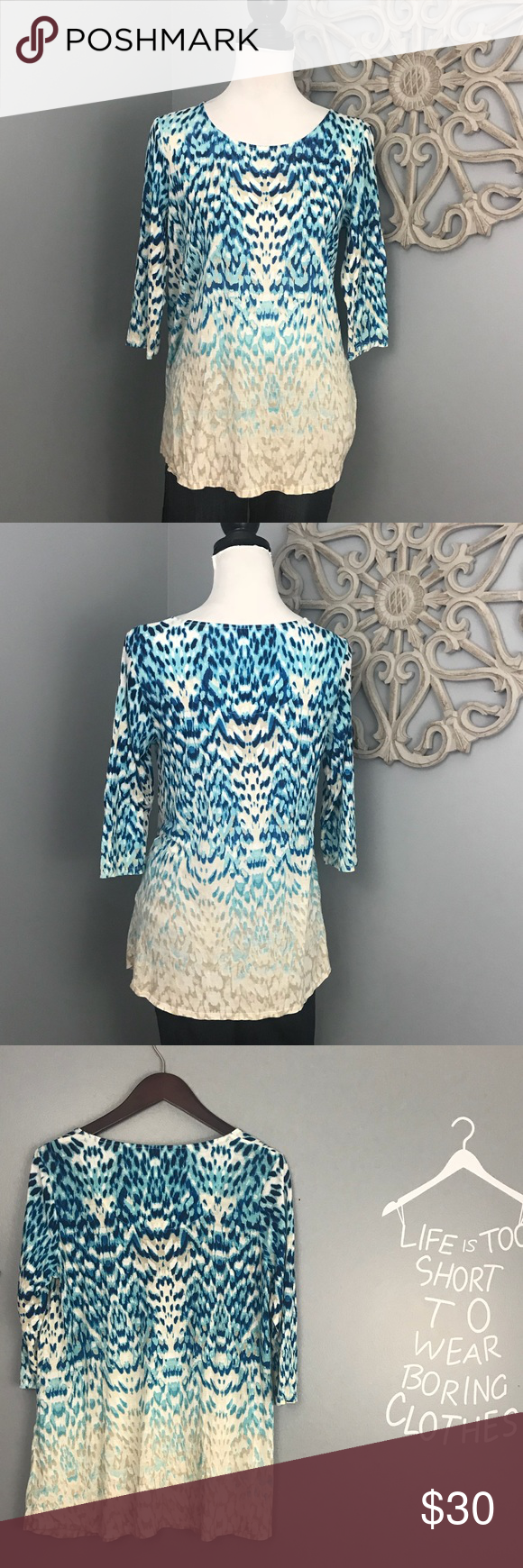 Chico\'s | Blue and Taupe Animal Print Tunic