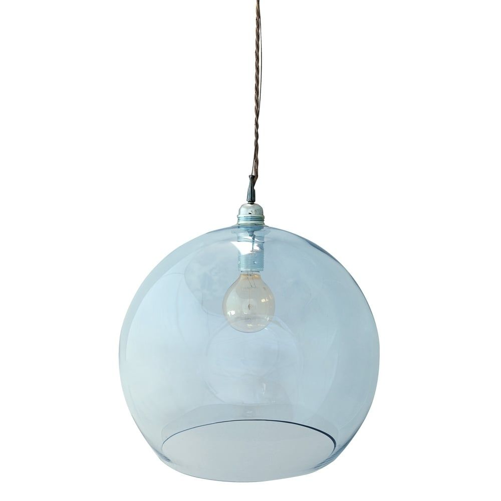 Copenhagen Glass Collection ROWAN large transparent topaz blue glass ceiling…