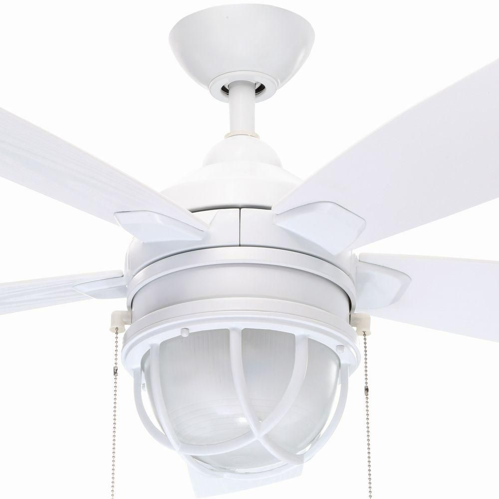 Hampton Bay Seaport 52 In Indoor Outdoor White Ceiling Fan With Light Kit Al634 Wh The Home Depot White Ceiling Fan Ceiling Fan Ceiling Fan With Light White outdoor ceiling fan with light