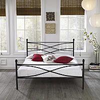 Helena Black Decorative Metal Platform Slat Bed Platform Bed