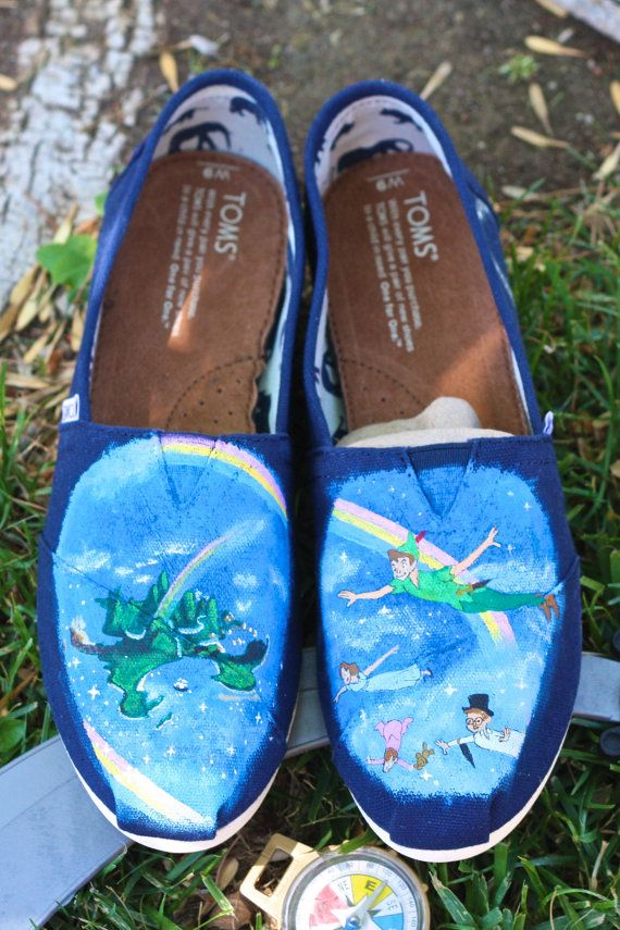 cfb987d4b295 Limited Time Sale Peter Pan Never Neverland Tinker bell Custom Painted  Disney Themed TOMS Vans or other shoes Artwork Only