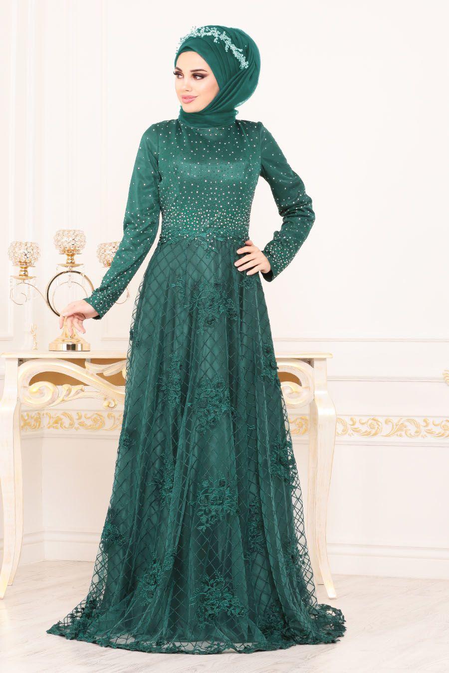 Tesetturlu Abiye Elbise Uzeri Tas Detayli Yesil Tesettur Abiye Elbise 4394y The Dress Moda Stilleri Elbise