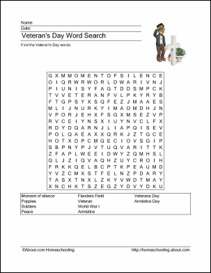 Veterans Day Word Search, Crossword Puzzle, and More | Print ...
