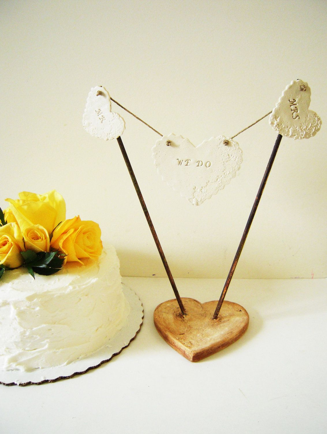 Custom cake topper personalized unique heart wedding decoration