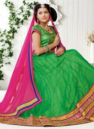 Graceful Green And Magenta Embroidery Work A Line  Lehenga Choli http://www.angelnx.com/Lehenga-Choli/Wedding-Lehenga-Choli