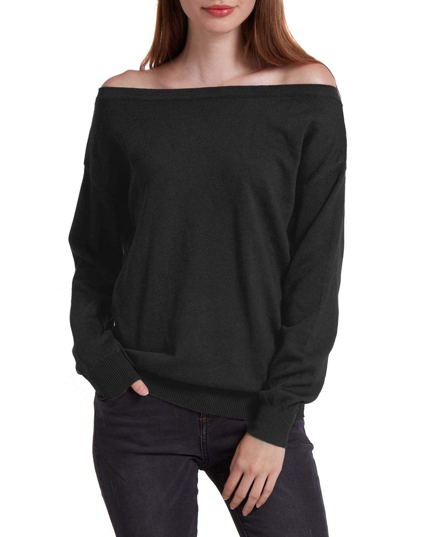 9b87d5af1f5c37 Women s Off Shoulder Sweater Loose Casual Pullover Knit Jumper Top ...