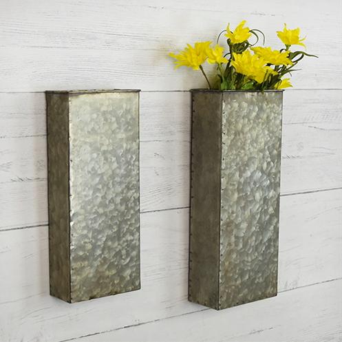 Farmhouse Wall Decor Tin Wall Vase Galvanized Wall Decor Fixer