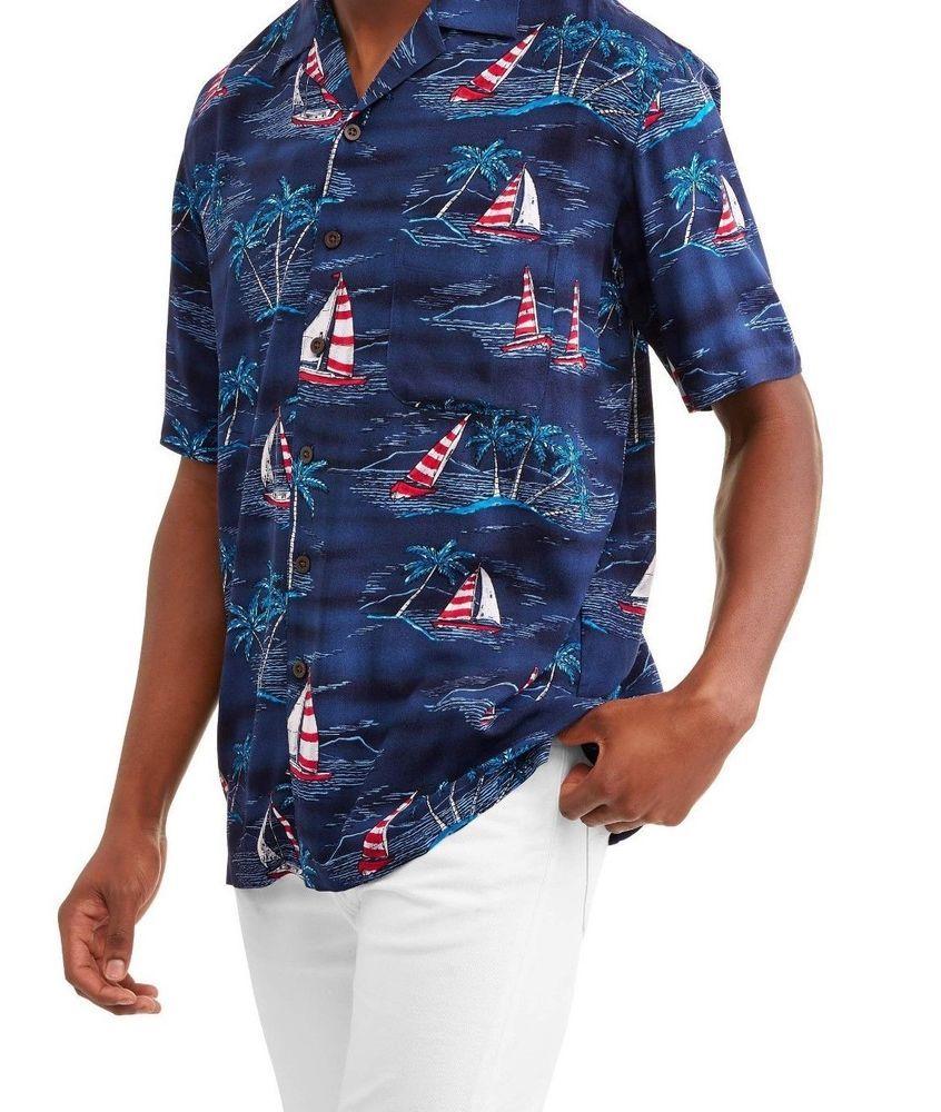 57ca96ef6649 Patriotic Hawaiian Camp Shirt Patriotic Print Nautical Americana S-5XL  Sailboats #George #Hawaiian