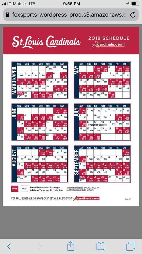St Louis Cardinals Schedule 2018 St Louis Cardinals Baseball Stl Cardinals Baseball Cardinals Baseball