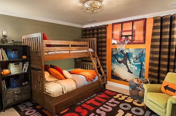 Basketball Themed Kids Bedroom With Bunk Beds Teen Boys Bedroom