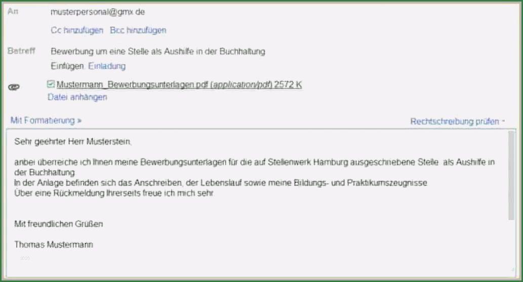Bewerbung Per E Mail Einstieg 12