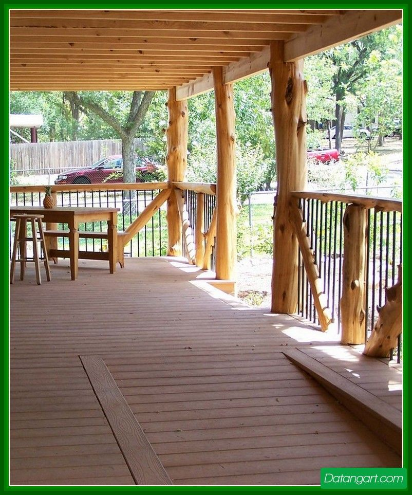 Cedar Tree Porch Posts Design Idea | Backyard Landscape ...