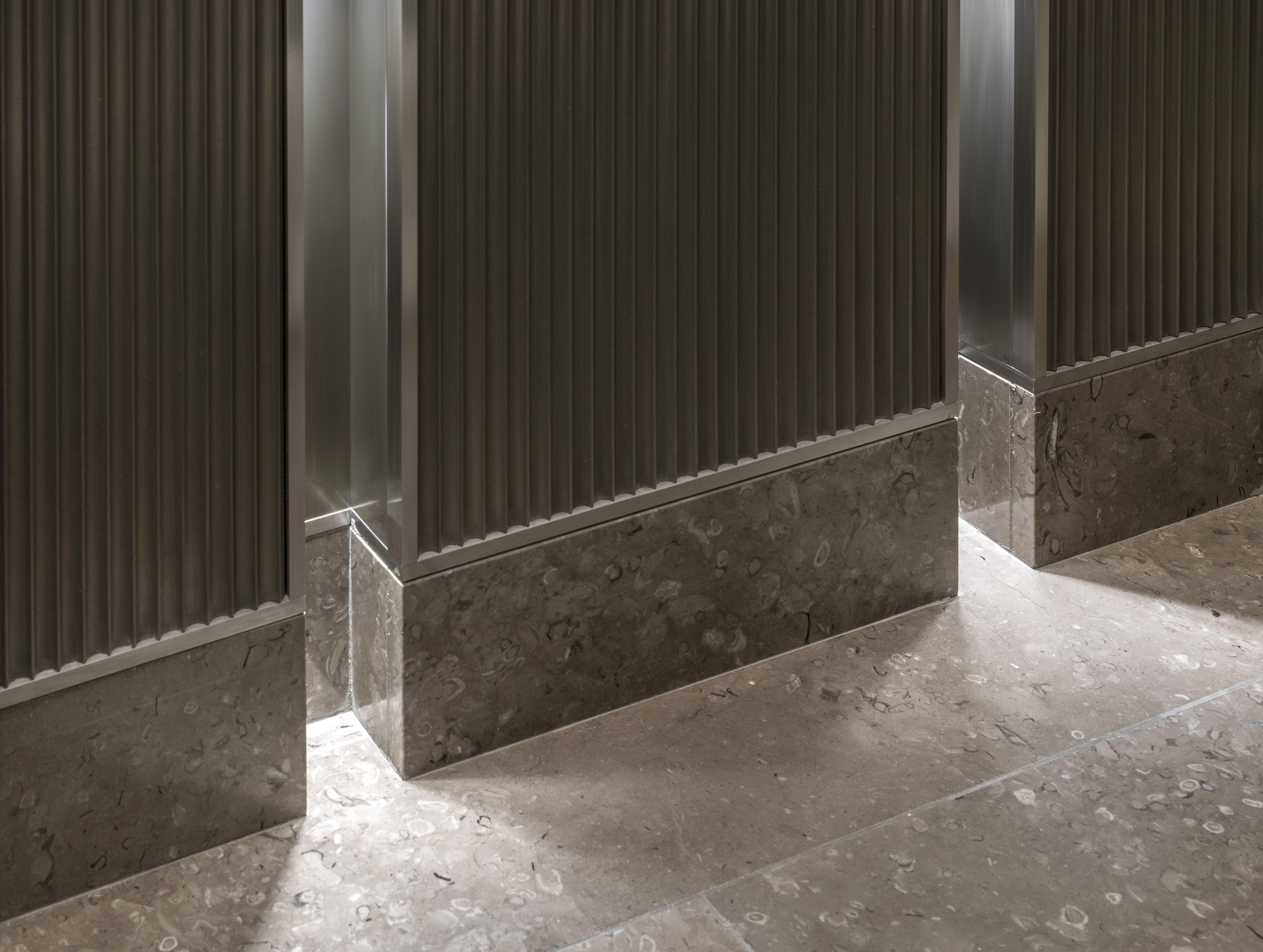 Special Fluted Panels Lacquered With Handmade Liquid Metal