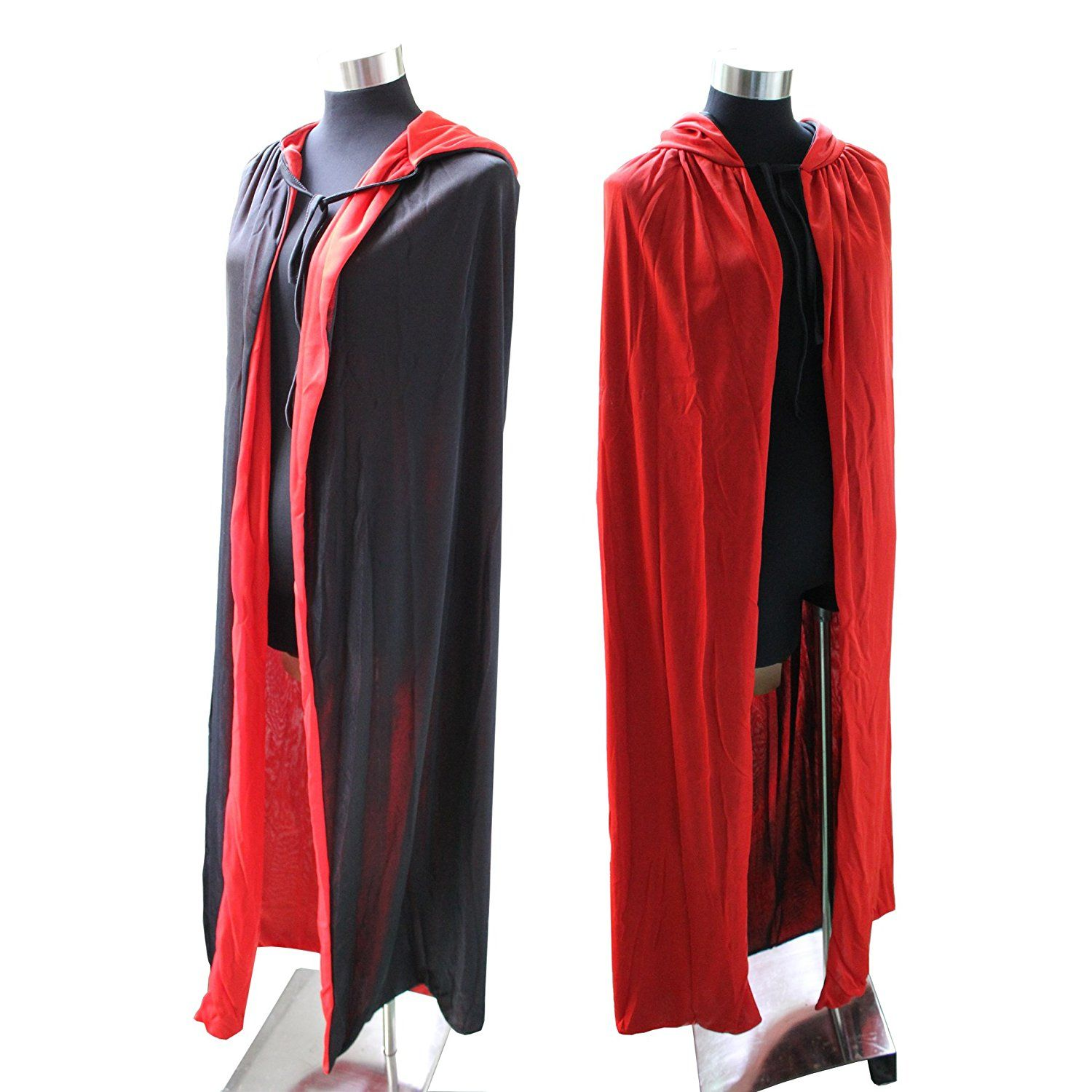Cloak Cape Hooded Costume Adult Red/Black Duplex Party Props: Amazon.co.uk: Toys & Games