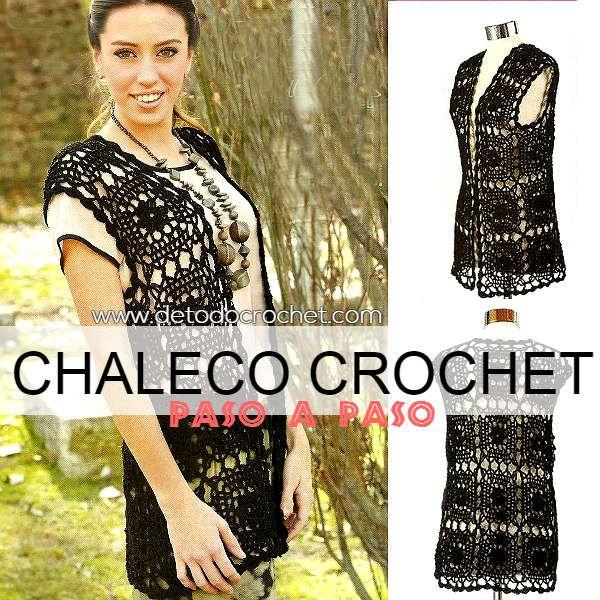 Chaleco para todas las tallas tejido al crochet | Ganchillo ...