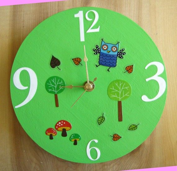 Woodland Owl Wall Clock by besoblooms on Etsy, $15.00