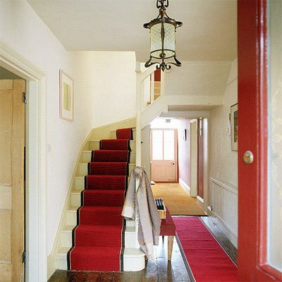 Best Hallway With Red Carpet Curving Stairs And Antique Light 400 x 300