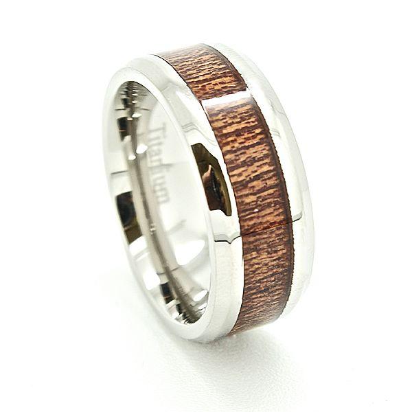 8mm Titanium Ring with Wood Inlay Titanium ring Wedding ring gold